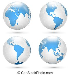 Blue and white Earth globe icon vector set.