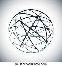 Abstract lines network sphere on white background