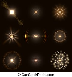 Set of warm colored light flares. EPS10 vector file with...