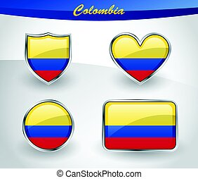 Glossy Colombia flag icon set