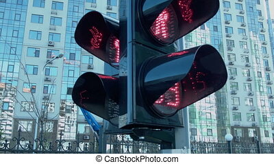 The green light of the traffic light turns on. The flag of...