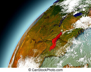 Malawi from orbit of model Earth - Malawi as seen from orbit...