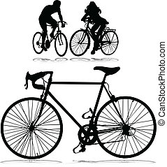 cycling man and woman vector silhouettes