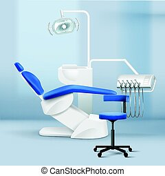 Interior of dental practice room - Vector interior of dental...