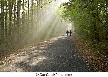 Walking Towards the Light - A dreamlike image intentionally...