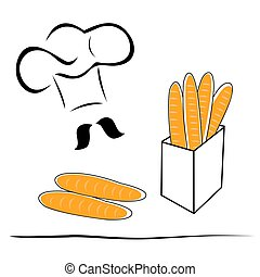 stylized chef hat and bread - Stylized chef hat with loaves...