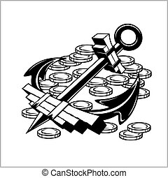 Pirate Emblem - Anchor and Coins - Vector illustration...