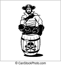 pirate sitting on a barrel vector illustration