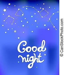 Good night poster with constellations and stars graphic...