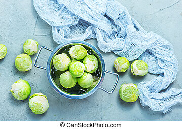 brussel sprouts - raw brussel sprouts on a table, fresh...