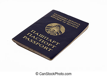 Belorussian passport isolated on white background