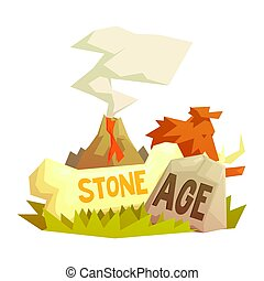 Stone age elements, volcanic eruption, mammoth, prehistoric...