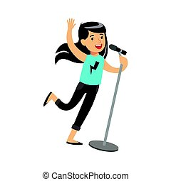 Young brunette girl singing with microphone in her hand. Colorful character vector Illustration