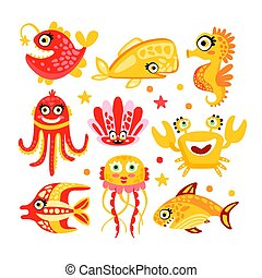 Cute cartoon sea creatures, marine life. Underwater world set of colorful characters vector Illustrations