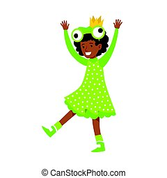 Cute little girl dressed as a frog. Colorful cartoon...