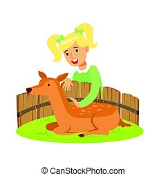 Cute little girl petting lying deer in a mini zoo. Colorful cartoon character vector Illustration