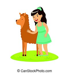Girl standing on green grass and petting fluffy alpaca....