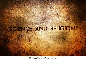 Science and religion text on grunge background