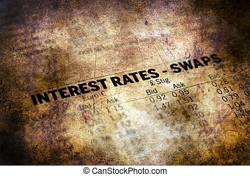 Interest rate report grunge concept