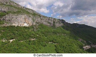 Monastery of Ostrog in Montenegro. Aerial survey of drones.
