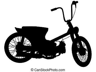 Vintage motor vehicle seven - Old big bike on white...