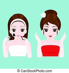 woman before and after make up in towel and red dress, flat...