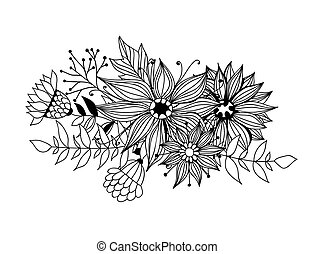 Doodle bouquet od flowers and leaves on white background....