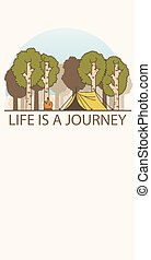 """Line art landscape with trees, camp fire and tent. Inscription: """"Life is a journey"""""""