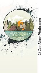Line art landscape with trees, camp fire and tent decorated...