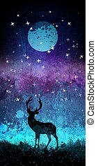 Deer silhouette in front of bright night sky with moon and stars