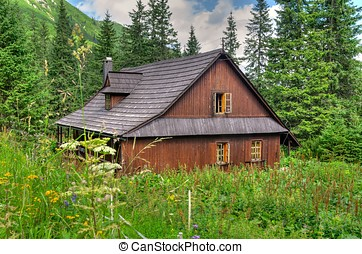 Wooden hut in mountains. - Old wooden cabin can be used as...