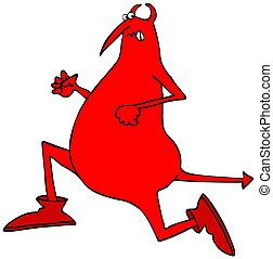 Red devil running - Illustration of a red devil running with...