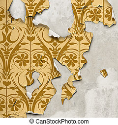 Peeling Wallpaper - A Grunge Background with Old Peeling...