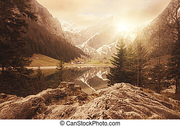 lake of seealpsee in Switzerland at sunset time