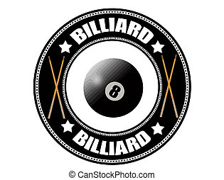 Billiard label with pool ball eight and cue, vector...