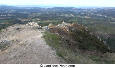 Galician countryside seen from the top of the Pico Sacro -...