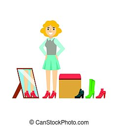 Women trying on shoes in a shoes store, colorful vector illustration