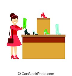 Women shopping for shoes in a shoes store, colorful vector illustration