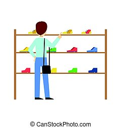 Man buying shoes in a shoe store, colorful vector illustration