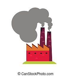Factory with smoking pipes. Colorful cartoon Illustration...