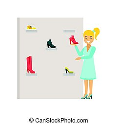 Blond woman choosing shoes in a shoes store, colorful vector illustration