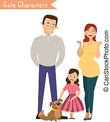 Happy family in the white background.