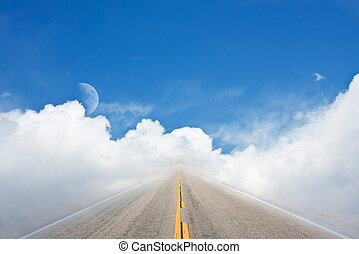 Highway to Heaven - An empty road leading off into a...