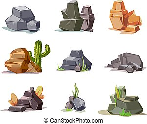 Stones and nature rock set with cartoon green grass isolated on white