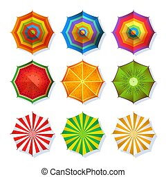 Top view picture of summer beach umbrella for relaxation. Colorful vector set isolate on white