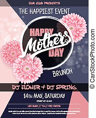 vector hand drawn mothers day event poster with blooming chrysanthemum flowers hand lettering text - mothers day and luminosity flares