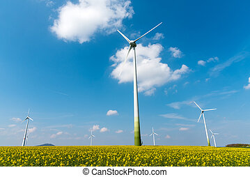 Windmill-powered plant and rapeseed field seen in Germany