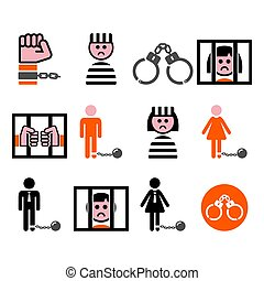 Prisoner, crime, slavery vector icons set - Man and woman in...