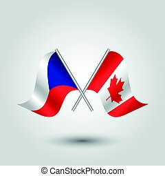 vector waving simple triangle two crossed czech and canadian flags on slanted silver pole - icon of czech republic and canada