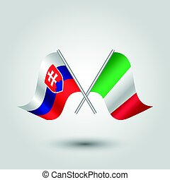 vector waving simple triangle two crossed slovak and italian...